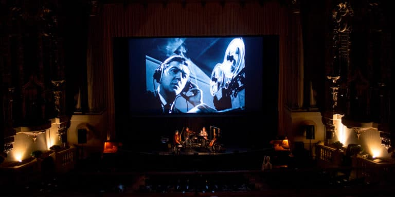 Rehearsal for Green Fog premiere at the Castro Theater in San Francisco during SFFILM Festival, credit Pamela Gentile