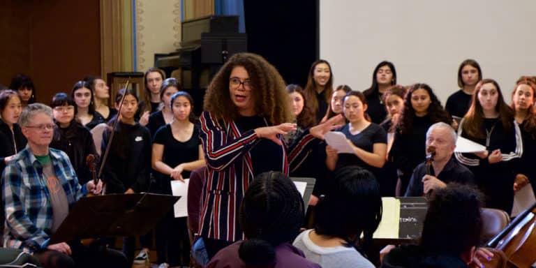 Kronos Quartet rehearsing with Kronos Festival 2019 artist-in-residence Valérie Sainte-Agathe and the San Francisco Girls Chorus, credit Evan Neff