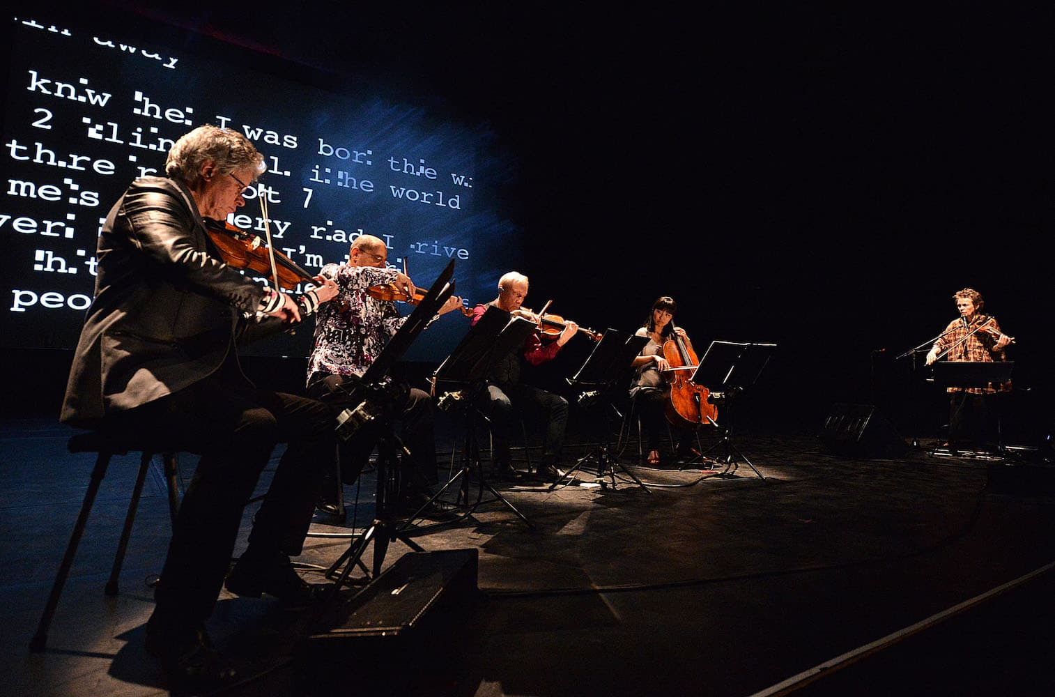 Kronos and Laurie Anderson performing Landfall at the Barbican in London, credit Mark Allan