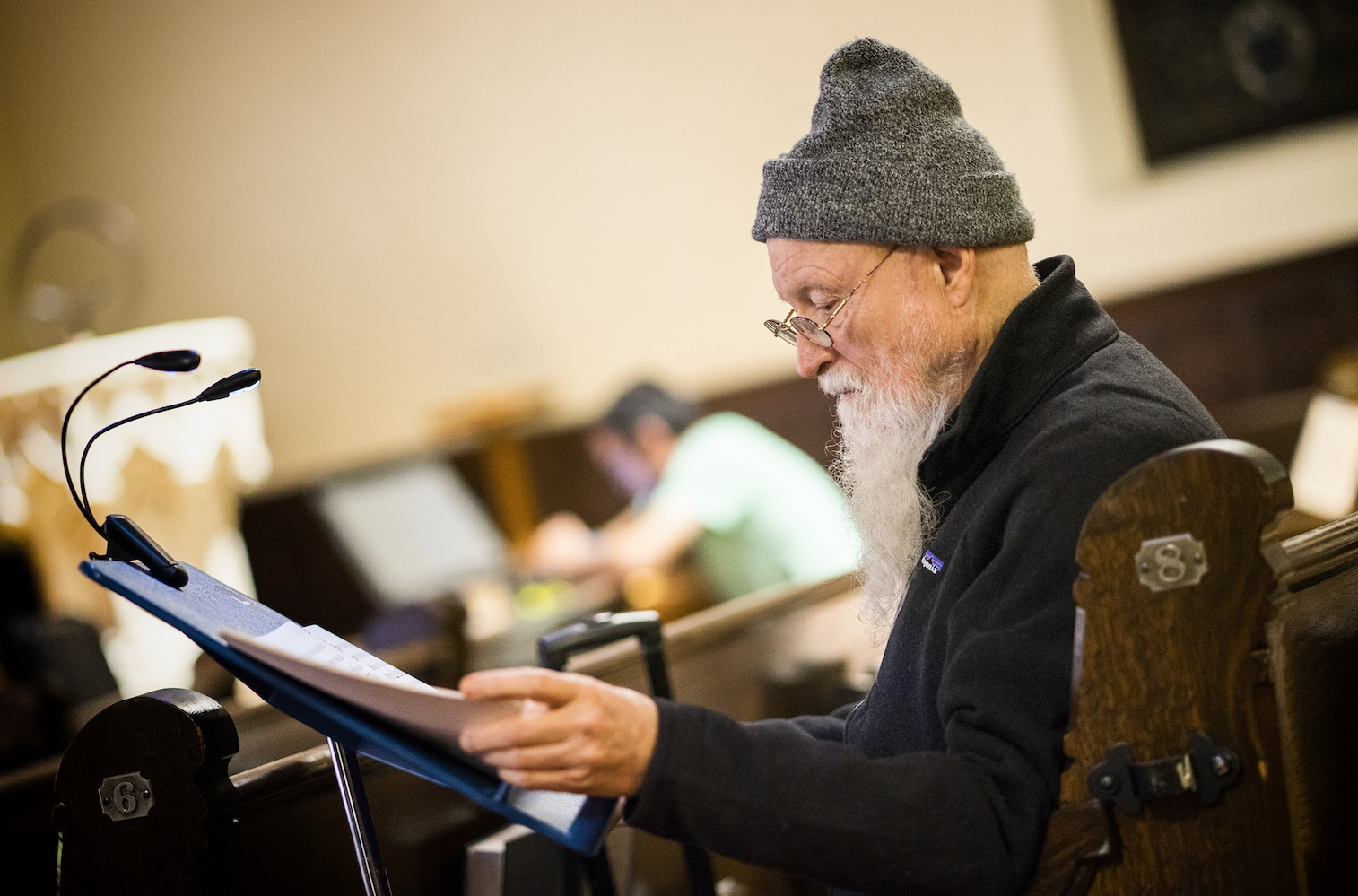 Terry Riley at a rehearsal for Sun Rings