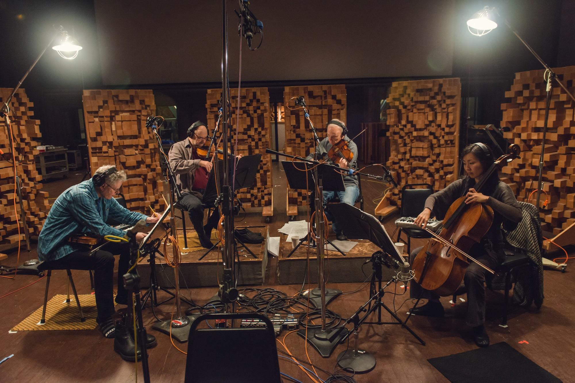 Kronos Quartet recording at Skywalker Sound, credit Lenny Gonzalez
