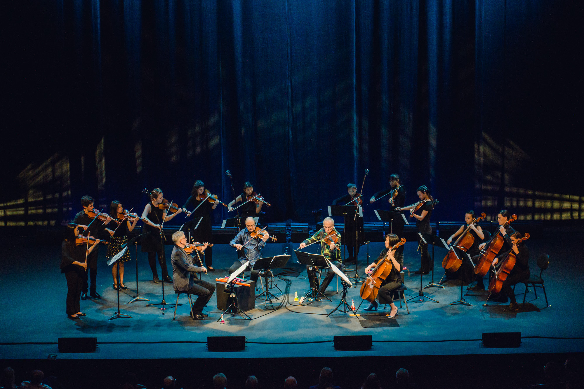 Kronos Quartet performing with students from Berkeley and Oakland, credit Lenny Gonzalez