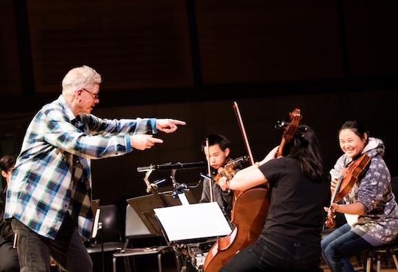 Kronos Quartet's David Harrington coaches San Francisco Unified School District students, credit Heidi Alletzhauser