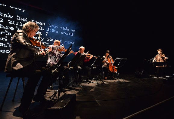 Kronos Quartet and Laurie Anderson performing Landfall at Barbican, credit Mark Allen