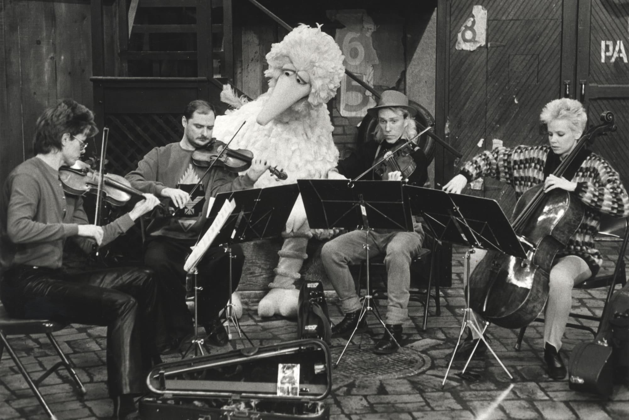 Kronos Quartet with Big Bird in 1987