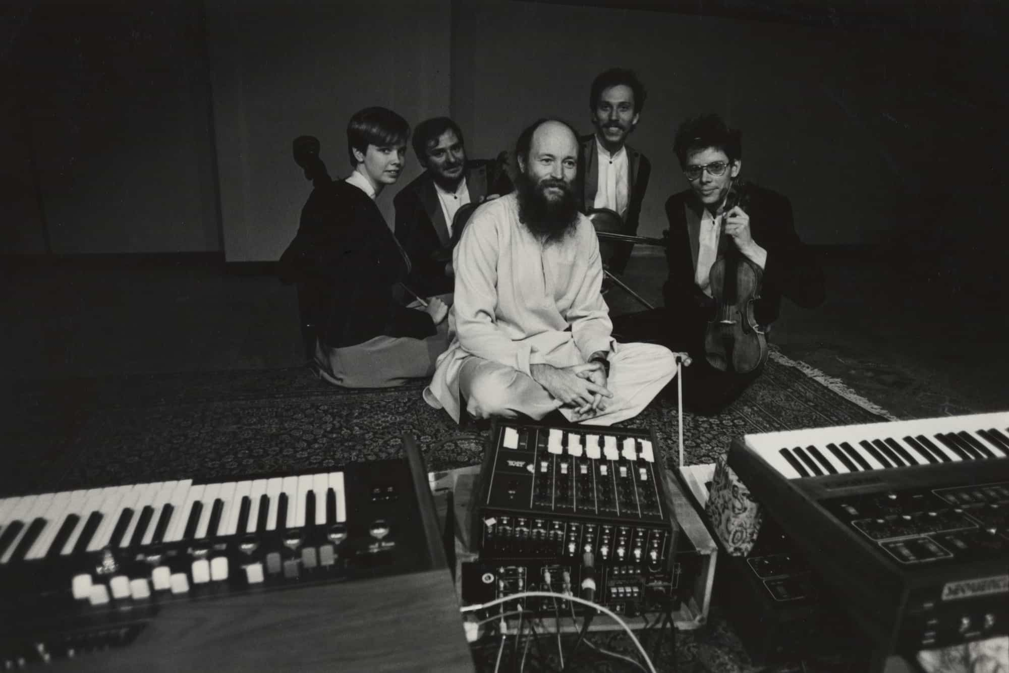 Kronos Quartet with composer Terry Riley in 1983, credit James M. Brown