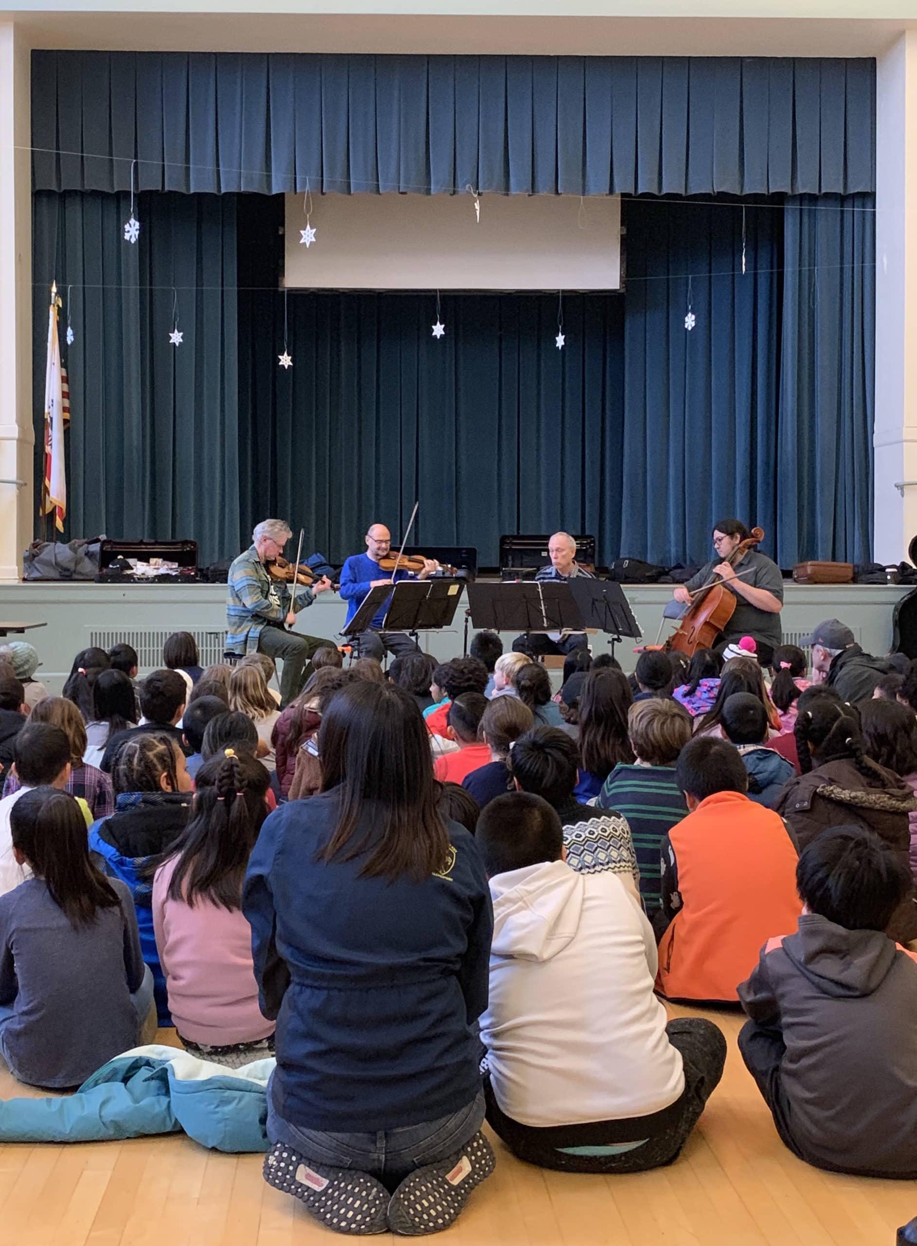 Kronos performs for SFUSD 3rd graders to kick of Kronos Music: DIY