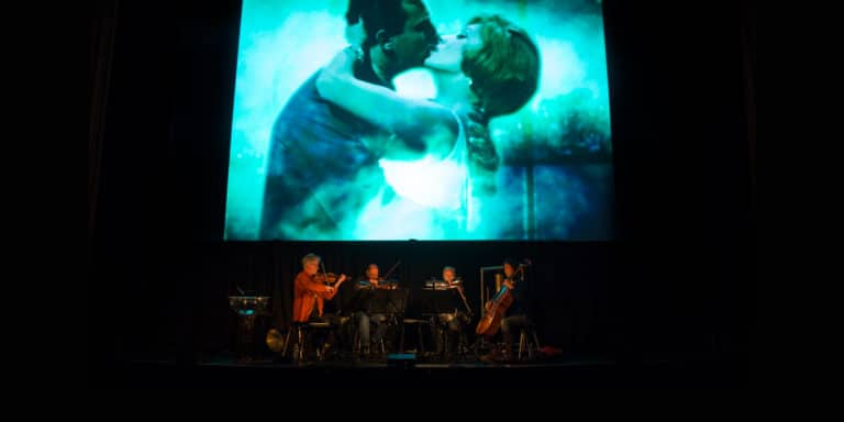 Kronos Quartet rehearsing Green Fog for the SFFILM premiere at the Castro Theatre in 2017