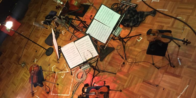 Kronos Quartet's instruments and music stands at Fantasy Studios in Berkeley, California / credit Robert Kirby