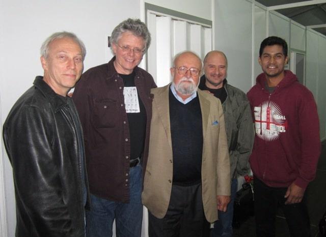 Kronos Quartet with composer Krzysztof Penderecki in Krakow, Poland, at the 2012 Sacrum Profanum Festival.