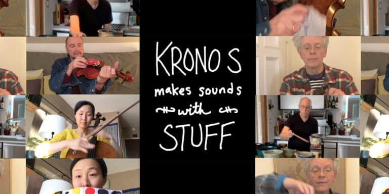 "Collage of film stills from Danny Clay's video ""Kronos Makes Sounds With Stuff"""