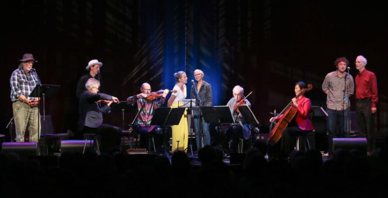 Lee Knight, Brian Carpenter, Aoife O'Donovan, Mary Alice Amidon, Sam Amidon, and Peter Amidon perform with Kronos during the premiere of Pete Seeger @ 100 at the FreshGrass Music Festival in North Adams, Massachusetts, on September 20, 2019 / credit Hilary Saunders for No Depression