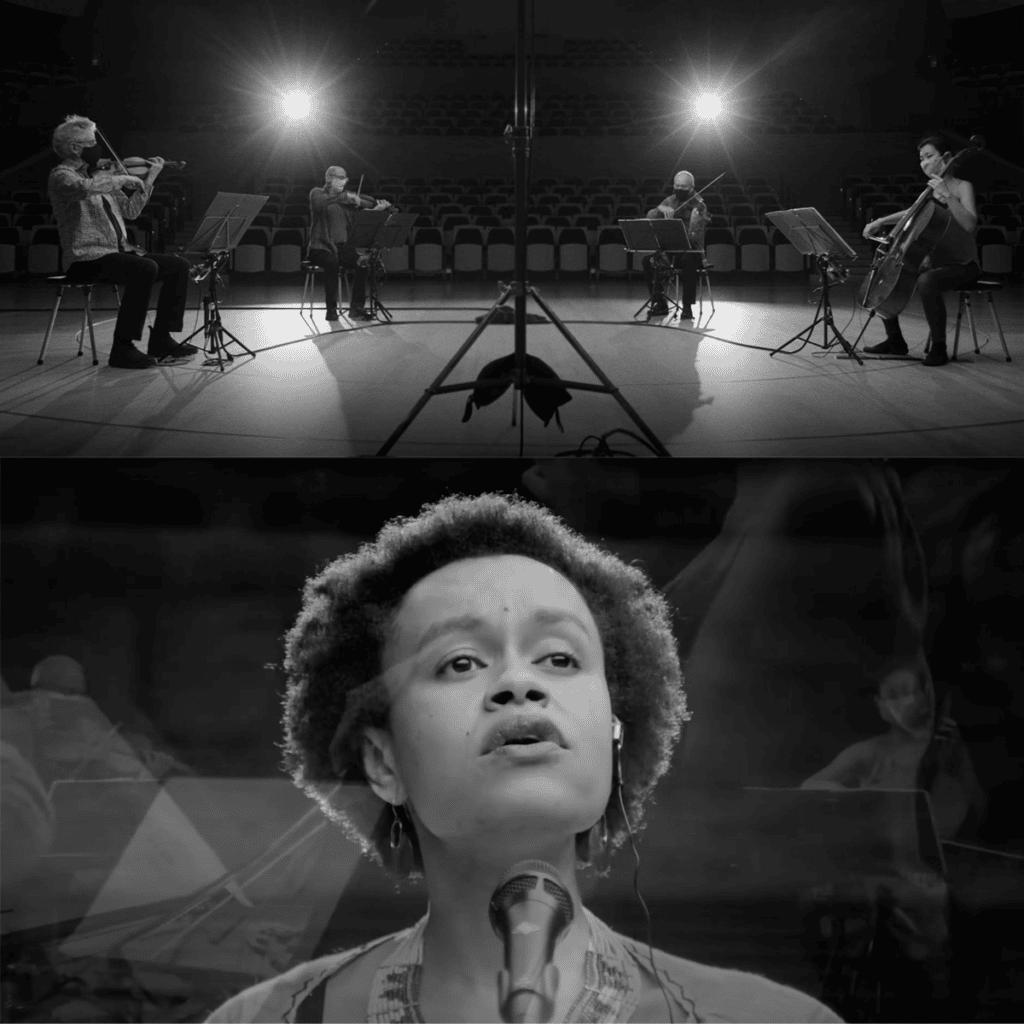 black and white photo of Kronos Quartet with singer Meklit
