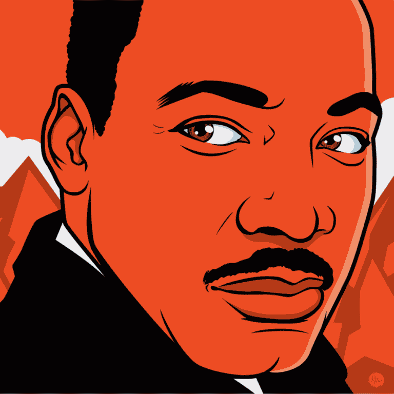 red-and-black vector drawing of Dr Martin Luther King, Jr
