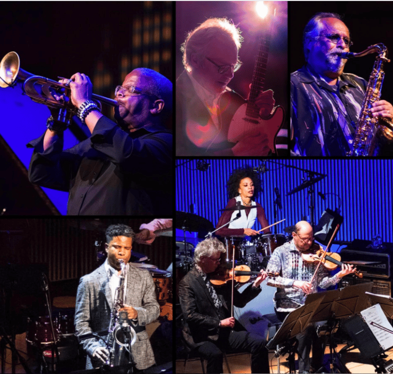 photo collage of jazz musicians Terence Blanchard (trumpet), Bill Frisell (guitar), Joe Lovano (saxophone), Cindy Blackman Santana (drums), Kronos Quartet, and SFJAZZ Collective Saxophonist